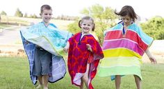 Here's a unique take on the swimsuit cover up. Make It Love It shares a tutorial for creating this fun swimming towel poncho. Sewing Kids Clothes, Clothes Crafts, Sewing For Kids, Baby Sewing, Free Sewing, Sewing Terms, Kits For Kids, Sewing Tutorials, Sewing Projects