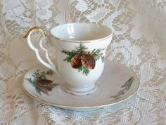 Vintage Handpainted Lefton China Pinecone Motif Pinecones Gilded CUP & SAUCER A #Lefton