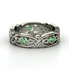 14K White Gold Ring with Emerald | Brilliant Alhambra Band | Gemvara