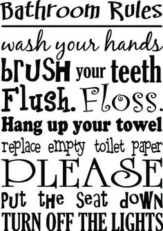 Bathroom Rules wash your hands brush your teeth cute Wall Vinyl Decal Quote Art Saying Sticker