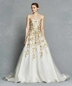 Kelly Faetanini Spring 2017 Bridal Collection Is All About Sophisticated Silhouettes With A Textured Twist We Can T Get Enough Gold Embroidered Ball Gowns