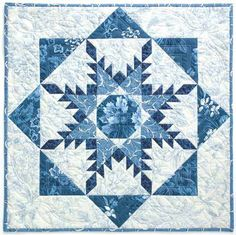RADIANT STAR Feathered star wall quilt kit, featured in Marsha McCloskey's online course at CraftOnlineUniversity Designed by MARSHA MCCLOSKEY Fabric collection Everything Blue II by Marsha McCloskey for Clothworks