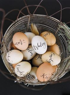 Egg Escort Cards | Bridal Musings Wedding Blog