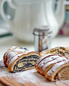 Beiglis are the traditional Hungarian walnut or poppy seed roulades seen at Christmas time, Easter and for wedding celebrations.