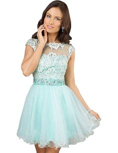 Belle House Short Mint Sheer Neck Prom Gown Homecoming Dresses