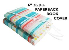 """Paperback Book Cover HEARTS & STRIPES 6"""" Book Accessories, Stretch Book Sleeve, Fabric Book Cover for Paperback Books, Book Pouch, Book Cozy by SEWINGtheABCs on Etsy"""