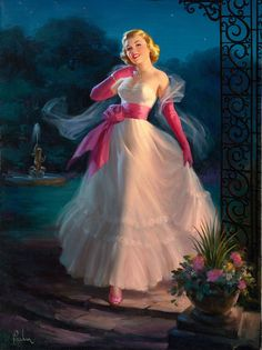 """Art Frahm She is on her way to meeting her date in the garden. Kissing in the moonlight, a recipe for romance. This painting is known as """"Stroll In The Moonlight """"."""
