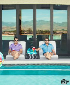 Some guys have a man cave, but Property Brothers Drew and Jonathan Scott have a whole house dedicated to relaxing. Looking for a place to decompress in the Property Brothers At Home, Foreclosed Homes, Scott Brothers, Las Vegas Homes, Celebrity Houses, Celebrity Mansions, Enjoy The Sunshine, Home Pictures, In Ground Pools