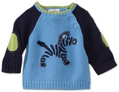 Kitestrings Baby-boys Newborn Zebra Crew Neck Sweater, Silver Lake, 12 Months KITESTRINGS. $22.44