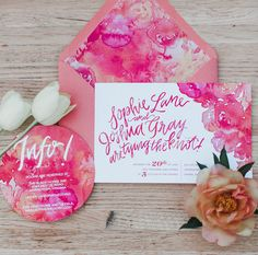 pink calligraphy invitation with florals and accents of magenta for a spring wedding // garden party