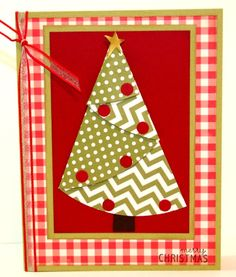 hadmade Christmas card ... Fabulous Folds ... folded tree in a frame of gingham print paper ... country look ... like it!