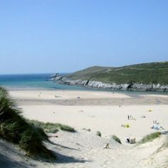The amazing Crantock beach in Cornwall with the sand dunes and estuary - great place. Crantock Beach, Cornish Beaches, British Beaches, Cornwall Beaches, Devon And Cornwall, Newquay Cornwall, Uk Holidays, Places Of Interest, Beautiful Beaches