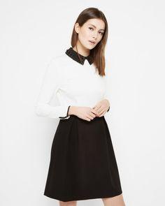 Embellished collar dress - Black | Dresses | Ted Baker FR