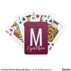 Shop Custom Classic Navy Blue Pink Monogram Playing Cards created by SimpleMonograms. Custom Playing Cards, Typography Images, Burgundy Bridesmaid Dresses, Family Images, Unique Birthday Gifts, Navy Blue Background, Monogram Design, Classic, Romantic