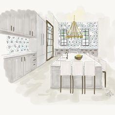 We're busy designing kitchen dreams. #lisagilmoredesign #liveableglamour #interiordesign #luxury #interiordecor #homedecor #design #interiordecor #pattern #realestate #residential #kitchen #custom #customhome #custombuild #waterfront #dream #dreamkitchen #art #rendering #sketch