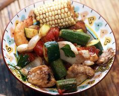 Cajun Inspired Grill With Summer Vegetables, Shrimp, Sausage and Catfish