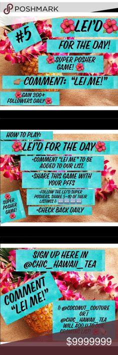 """2/9 FRI-YAY LEI  Comment """"LEI ME"""" to be added to the list & featured  as getting LEI'D! right here@chic_hawaii_tea  READ the slides to play ✋Must be PC Each day we will delicately select 2 SPs to get LEI'D  : @gainfollower's pick: @shoestyling  :@chic_hawaii_tea's pick: @feens50 :@coconut_couture's pick: @bluejaythreads : REVISIT this super posher: @jigdaliag  Share a min of 5 listings from each closet feat. as a thanks for their  followers. Other"""
