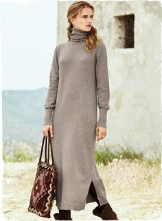 Peruvian Connection $189 Our t-neck dress is full-fashion knit of ultra-soft pima in an eased shape that looks great alone or belted. In Taupe or Black, with a ribbed t-neck, extra-long ribbed cuffs and side slits.