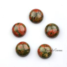 Natural Unakite Calibrated Cabochons 4mm to 16mm Round Shape