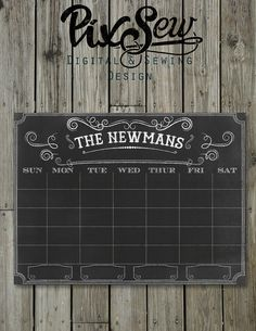 Chalkboard calendar 18x24 fully customizable digital por PixSew, $15.00