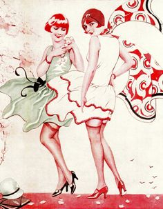 "Flappers ""If Winter Comes"" illustration (detail) by 'risque' French artist Suzanne Meunier, that focuses on the erotique possibilities of rising hemline.  From The Bystander 1929.  From Retro Fashion: The Way We Wore by Lucinda Gosling (2015) (please follow minkshmink on pinterest) #twenties #flappers #fashion #hemlines #stockings #roaringtwenties #jazzage"