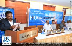 Sashiidharann K CP (Founder and Director, Homz Komforts) addressing at launch of Homz Komforts, Kerala's Upcoming E-Commerce Marketplace