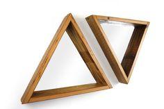 Triangle Framed Mirror- Reclaimed Wood Frame- Modern Home Decor- Hanging Wood Shelf- Decorative Geometry- Urban Wall Decor-  FREE SHIPPING by weareMFEO on Etsy https://www.etsy.com/listing/124065208/triangle-framed-mirror-reclaimed-wood