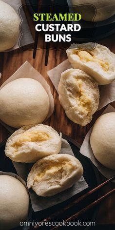 Chinese Steamed Custard Buns (nai wong bao, 奶黄包) | A dim sum classic, these buns are perfect for holiday gatherings and parties as well. Made with a yeast dough and steamed, the buns have a super soft and spongy texture with a smooth surface. The custard filling is creamy, fragrant, and sweet. The recipe includes detailed step-by-step pictures to help you recreate the restaurant-style custard buns in your own kitchen. #ad #peteandgerrys