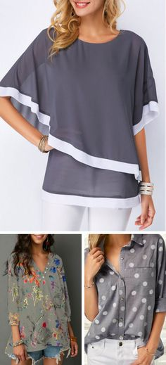 really like this Dark Grey Half Sleeve Chiffon Overlay Blouse. the other two blouses in the photo, not so much. Fashion Over 50, Latest Fashion For Women, Womens Fashion, Grey Top, Dark Grey, Cool Style, My Style, Online Shopping For Women, Looks Cool