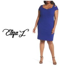 Eliza J Blue Cold Shoulder Crepe Sheath Mid-length Cocktail Dress Size 20 (Plus Eliza J Dresses, Mid Length, Underarm, Cold Shoulder, Short Sleeves, Dresses For Work, Nordstrom, Brand New, Slim