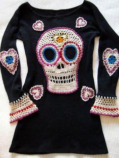 Crochet: Día de los muertos Dress / Tunic Embellishment. (or Valentine heart, etc)