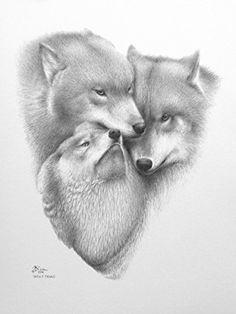 """Limited Edition Print """"Wolf Triad"""" (Unframed) Wildlife Art E-ArtDesign.US http://www.amazon.com/dp/B00I0HDFRA/ref=cm_sw_r_pi_dp_Qc08vb1SRZHF5"""