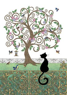 Birdy Tree by Jane Crowther. This reminds me of my cat when she stares at the birds Draw Cats, Bird Illustration, Illustrations, Black Cat Art, Black Cats, Art Carte, Cat Cards, Greeting Cards, Bug Art