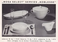 "1959, advertisement for the ""Noblesse"" service, designed by Edmond Bellefroid for MOSA, Maastricht..."