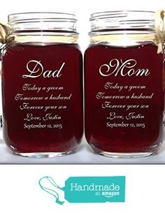 Mom and Dad of Groom Wedding Gift Mason Jars, Mother of the Groom Gift, Father of the Groom Gift, Personalized Engraved Wedding Favors Mason Jars from Design Imagery Engraving https://www.amazon.com/dp/B01DHM13EO/ref=hnd_sw_r_pi_dp_AOf.xbB4WHH67 #handmadeatamazon