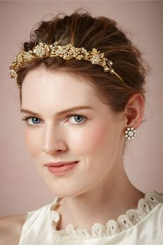 Issepa Headband from BHLDN: A brilliant and bold adornment, encrusted in baubles and blossoms handcrafted from crystals, pearls, and gold.