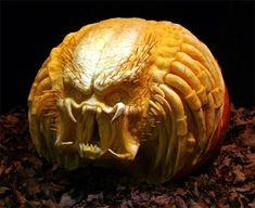 Predator carved pumpkin