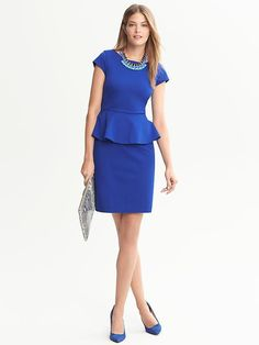 Banana Republic Blue Ponte Peplum Dress
