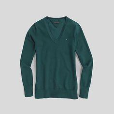 Ivy Solid V Neck Cotton Sweater | Tommy Hilfiger USA