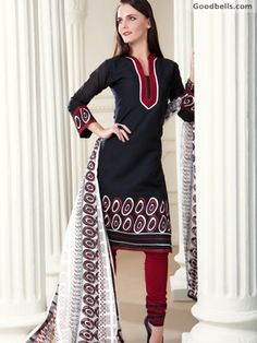 Buy elegant Black Cotton Salwar Kameez with Dupatta in just $60.00 from http://goodbells.com/salwar-suits/black-cotton-salwar-kameez-with-dupatta.html?utm_source=pinterest_medium=link_campaign=pin04juneR4P215