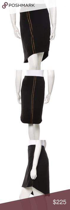 Rag & Bone Asymmetrical Exposed Zipper Skirt This Rag & Bone skirt is black with orange contrast stitch trim & vertical detail. It has an asymmetrical hem and exposed zip closure at back. Great for work or a dinner out! Excellent condition. rag & bone Skirts Asymmetrical