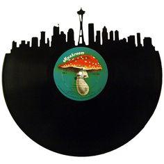 Seattle Skyline Vinyl Record Art – Records Redone www.recordsredone.com