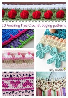 10 Amazing Free Crochet Edging patterns you will love | roundup compiled by SimplyCollectibleCrochet.com #diy