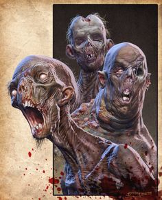Three Dirty Rotters by Kaduflyer zombies ghouls dead undead monster beast creature animal | Create your own roleplaying game material w/ RPG Bard: www.rpgbard.com | Writing inspiration for Dungeons and Dragons DND D&D Pathfinder PFRPG Warhammer 40k Star Wars Shadowrun Call of Cthulhu Lord of the Rings LoTR + d20 fantasy science fiction scifi horror design | Not Trusty Sword art: click artwork for source