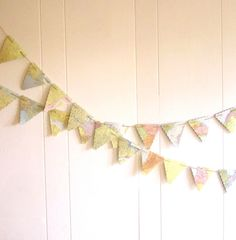 Flag Bunting Vintage Map Pennant Garland Pennant by MagpieandMax