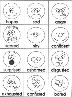 Emotions cards- Easy to draw!You can find Charts for classroom ideas and more on our website.Emotions cards- Easy to draw! Emotions Cards, Feelings And Emotions, Feelings Chart, Expressing Feelings, English Activities, Preschool Activities, Feelings Preschool, Emotions Activities, English Lessons