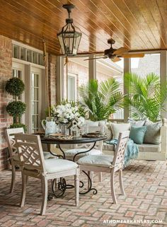 Is everyone patio season ready? It's and we're going back a year to this Country-French style patio designed by Outdoor Rooms, Outdoor Living, Outdoor Furniture Sets, Outdoor Decor, Small Furniture, Hanging Furniture, Outdoor Sheds, Plywood Furniture, Indoor Outdoor