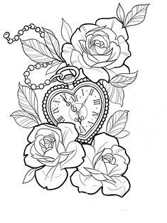 Tattoo Outline Drawing, Rose Drawing Tattoo, Outline Drawings, Tattoo Drawings, Full Arm Tattoos, Body Art Tattoos, Sleeve Tattoos, Clock Tattoo Design, Sketch Tattoo Design