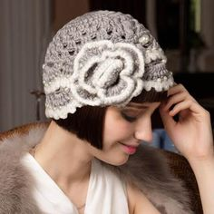 Hand crochet beanie hat with flower for women fashion pearl knit hats for winter