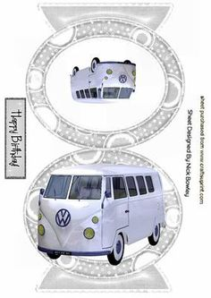 WHITE VOLKSWAGON VW IN SILVER QUICK CARD on Craftsuprint - Add To Basket!